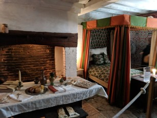 The first room one would enter upon visiting a Tudor home: The guest room, designed for entertaining but also furnished with the best bed in the house to show wealth and hospitality, as well as to allow guests to spend the night in style if they needed to.
