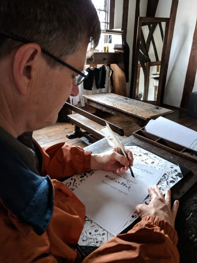 Bill tried his hand at quill writing and did quite well. I, on the other hand, got nothing but a big black blob of ink. Is that why the school has only educated boys from its opening in the 1400s until 2013, when it admitted its first girl?
