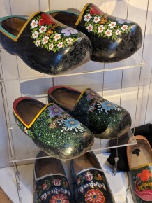 Wooden shoes, designed for their sturdiness, also indicated where a person was from: Different designs for different regions of The Netherlands.