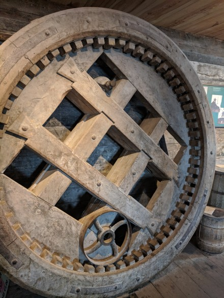 The inside workings of a windmill.