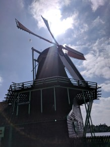 """Sails"" of a windmill were rolled up when not in use."