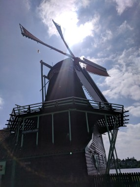 """""""Sails"""" of a windmill were rolled up when not in use."""