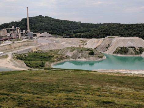 Limestone quarry...The limestone makes the water look like it should be in a tropical paradise.