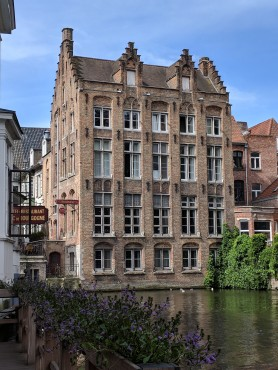 This is our hotel, with a beautiful view of the canal.