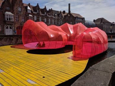 You can find shade in this interesting public plastic patio