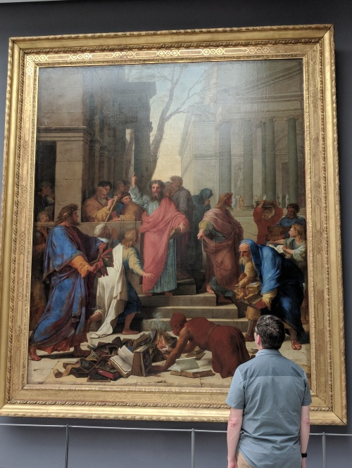 La Sueur. Jesus saving the adulteress. Look how big it is compared to Bill, who is standing and looking at it.