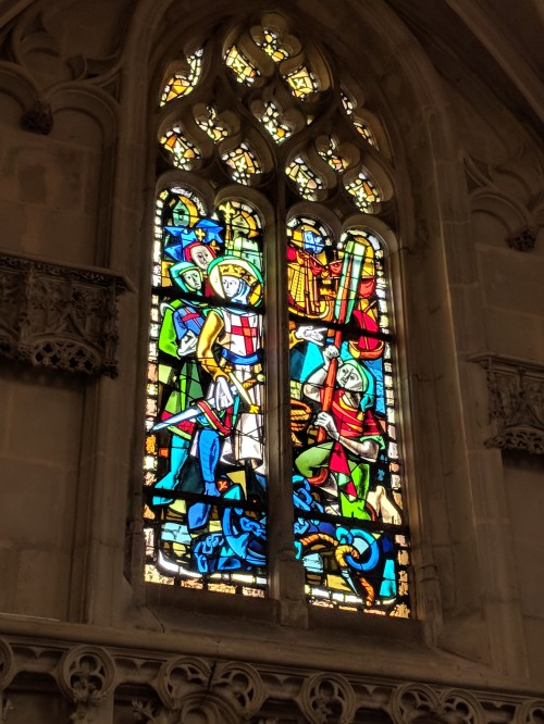 Stained glass window in the chapel d'Amboise