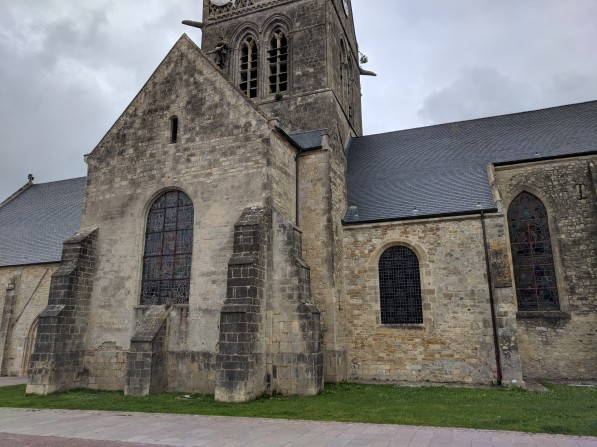 St Mere English Church, where American paratroopers landed in the middle of occupied France.