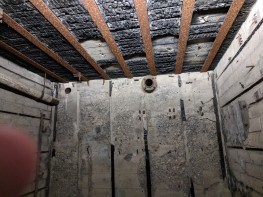 Damage shown inside a German bunker