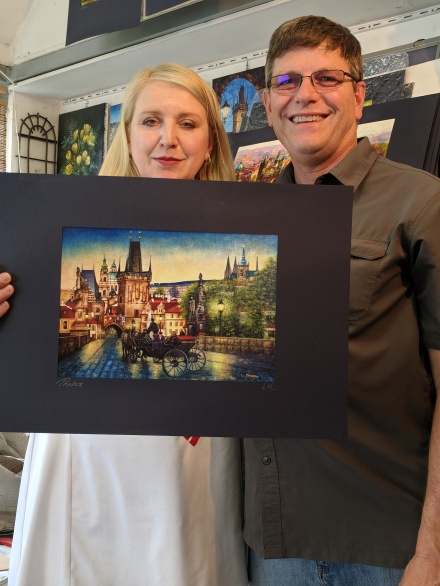 We bought this woman's painting...our one souvenir