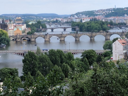 A few of the bridges in Prague
