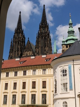Towering behind Prague Castle is St. Nicholas Cathedral.