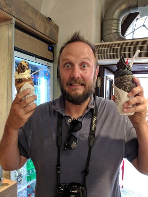 Ice cream in a trdelnik! Delicious!