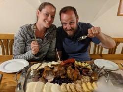 Our huge platter of food at U Medvidku.