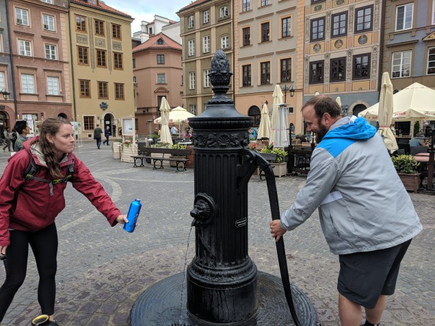 Yay! A fountain! It's hard to get regular tap water in Europe!