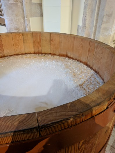 This open barrel is the beer, about to be distilled. It is said that if foreign objects get into this mixture (bugs, hair, etc), they will be distilled out, and they may leave just the perfect trace of flavor. Hmmm....