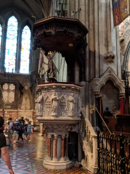 The pulpit built for Jonathan Swift, who was a dean here