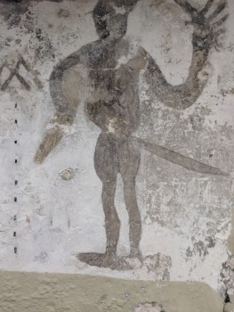 "This ""grafitti"" was drawn on the walls of the dungeon when it was used as a prison during the rebellion in 1978."