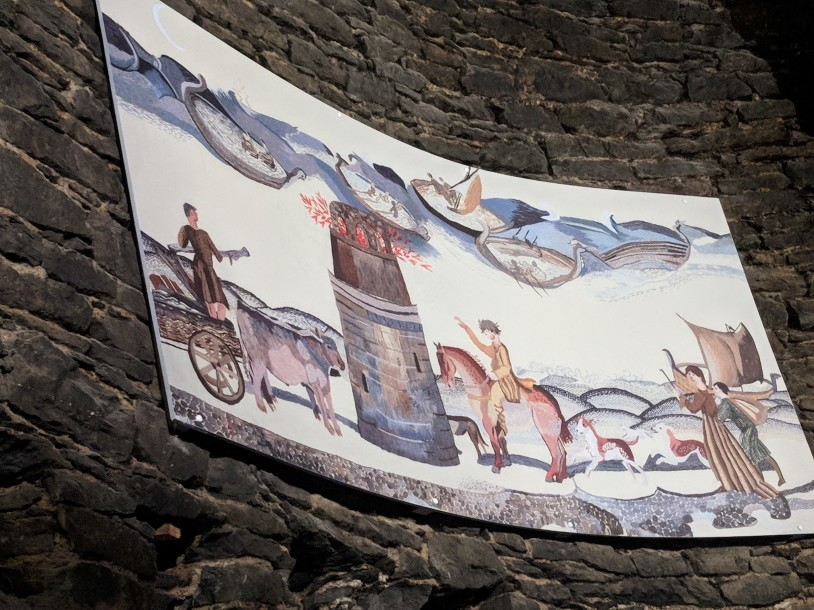 This is a painting of a tapestry that showed daily life for the monks of the lighthouse